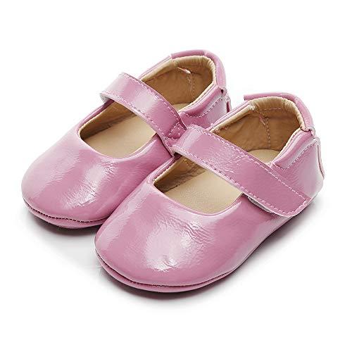 LACOFIA Ballerine neonata Scarpe Primi Passi Bambina Scarpine Principessa Antiscivolo per Bimba Rosa Rossa 12-18 Mesi