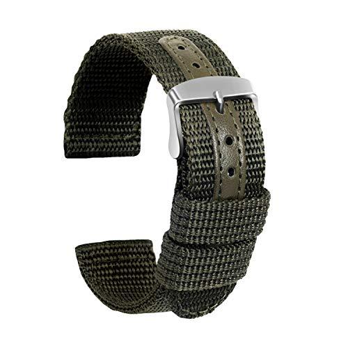 Ullchro Nylon Cinturini Orologi Alta qualità Tela di canapa Orologi Bracciale Militari Esercito - 18mm, 20mm, 22mm, 24mm Cinturino Orologio Fibbia Dell'acciaio Inossidabile (22mm, verde militare)