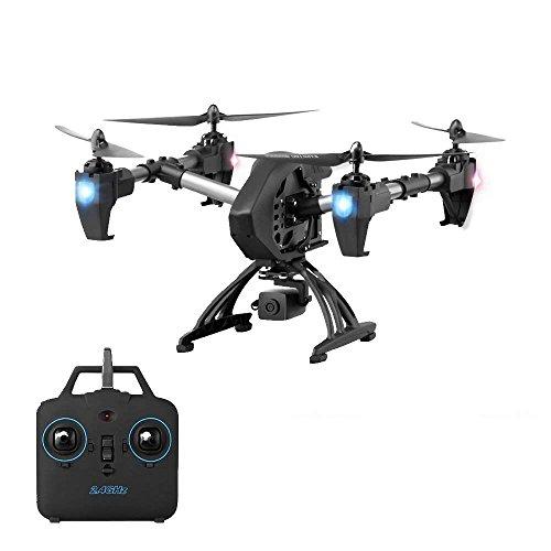 YMXLJJ Telecomando 2.4G Drone E WIFI FPV 2.0MP Telecamera Grandangolare HD Telecomando Obiettivo Di Regolazione 75 ° Con Motore Rotante Elicottero Di Volo A Quattro Assi Gyro A 6 Assi Nero