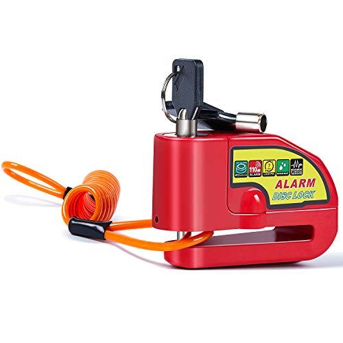 Bremsscheibenschloss Alarm Rot Alarm Disc Lock mit 1,5m Orange Erinnerungskabel Schwarze Gürteltasche Fahrradschloss Wasserdicht Motorradschloss mit Alarm Geeignet für Yamaha