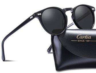 Carfia-Gafas-de-Sol-Polarizadas-mujer-hombre-Retro-Estilo-gafas-UV400-gafas-de-sol-para-conducir-viajes-playa-Marco-Negro-Con-Lente-Gris