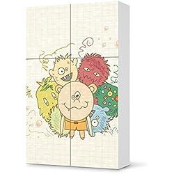 Möbel-Sticker Folie für IKEA Besta Schrank Hochkant 4 Türen (2+2) | Folie Design Möbelfolie selbstklebend | Einrichtung stylen Wohndeko | Design Motiv Monsterparty