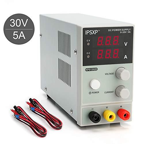 Fuentes de alimentacion Regulables, IPSXP KPS1202D Fuentes de alimentacion DC Variable 0-30V / 0-5A Regulable Digital Ajustable Transformador, para Laboratorio, hogar, reparación General