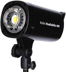 Rollei Studio Flash 400 - Flash de estudio profesional con una potencia de 400 vatios por segundo, incl. reflector con 5 geles de color, Negro