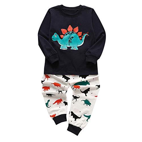 POLP Niño Invierno Unisex Ropa Conjuntos Tops Camiseta Manga Larga para Bebés Infantil Niñas Conjunto de Pantalones de Camiseta de Dinosaurio Pijamas de niños Azul Marino 2pcs 18M-6años