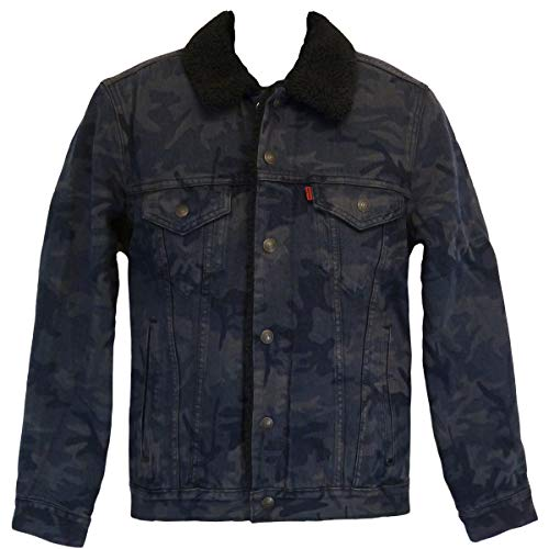 Levi's Sherpa Trucker Jacket - gefüttert - Black Camo JT, Größe:XXL