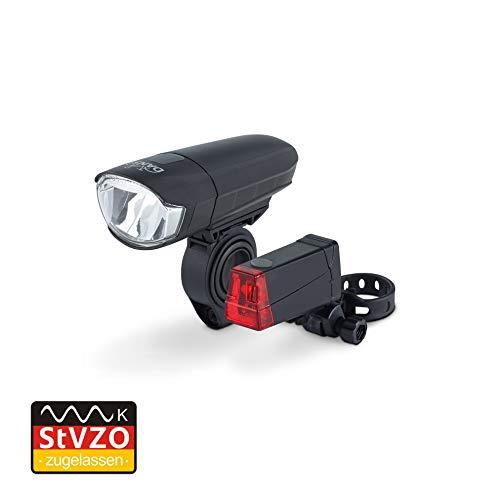 DANSI Fahrrad-Batterie-Leuchtenset, StVZO-Zulassung, LED Fahrradbeleuchtung, Set mit Vorder- und Rücklicht, umschaltbar zwischen 30/15 Lux, Regen- und stoßfest, schwarz, 44001