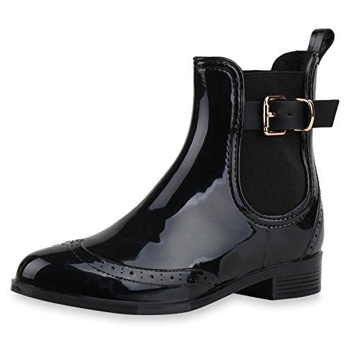 SCARPE VITA Damen Stiefeletten Chelsea Boots Lack Schnallen Gummistiefel  Schuhe 160512 Schwarz Schnallen 40 987b646710