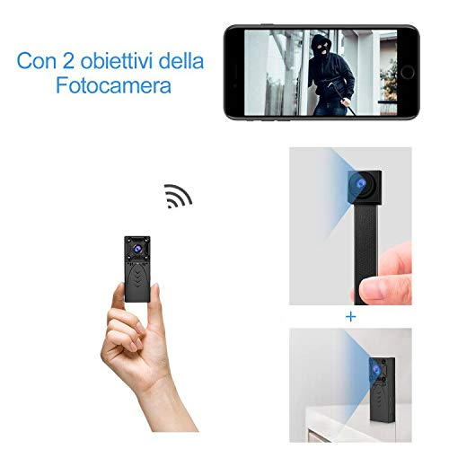 KEAN Telecamera Spia Nascosta Wi-Fi Interno 1080P Mini Microcamera IP Wireless Rilevamento di Movimento Portatile Videocamera di Sorveglianza Video Registrazione in Loop - 2 Lenti Spy Cam