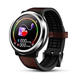 OKNAE Smartwatch with Heart Rate Sleep Sports, IP67 Waterproof Fitness Smartwatch,Sportswatch Compatible with Android and IOS for Most Types of Smartphone Leather Strap, Black&Brown
