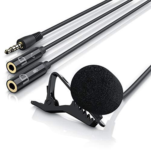 LIAM & DAAN Ansteckmikrofon Lavalier Mikrofon | Easy Clip (abnehmbarer Halteklipp zur flexiblen Befestigung) | Hohe Sprachqualität | 2 zusätzliche Eingänge/Buchsen: 1 x Kopfhörer, 1 x Mikrofon