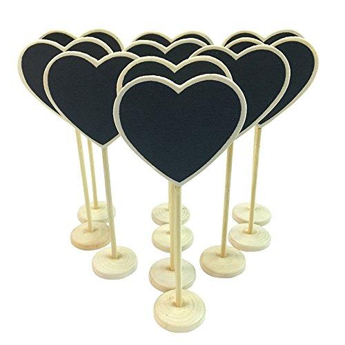 CUILEE Cuore Mini lavagna Lavagnette messaggi di legno in legno con targhetta matrimonio numero...