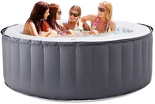 Miweba MSpa aufblasbarer Whirlpool Outdoor - 6 Personen - 132 Düsen - 204 x 70 cm - Tüv GS geprüft - Silver Cloud D-SC06 - 930 Liter