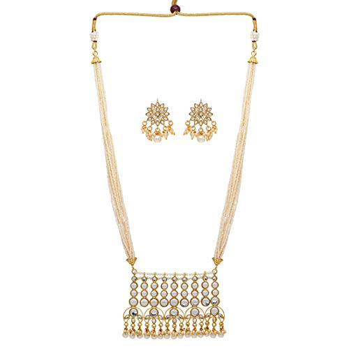 Jaipur Mart Alloy Metal Gold Plated Kundan Necklace Set for Women/Girls (KN190WHT)