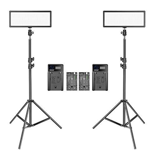 Neewer 2 Pacchetto LED Video Luce Ultra Sottile con Stand di Luce per Fotografia 3200K-5600K...