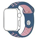 Cinturino Apple Watch, ZRO Molle Silicone Nike+ Sport Banda Sostituzione Cinturino Orologio per Nuovo Apple iWatch Serie 2/ Serie 1 42mm S/M, Rosa/Blu