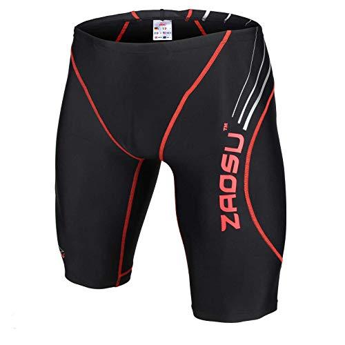 ZAOSU Wettkampf-Schwimmhose Z-Black - Badehose für Jungen und Herren, Größe:164, Farbe:schwarz/rot