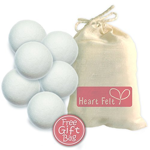 Wool Dryer Balls Six Pack: 6 Extra-large Balls Made with Premium 100% Organic New Zealand Wool ~...