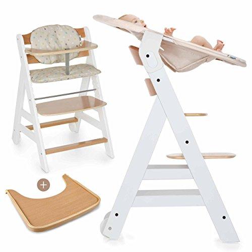Hauck Beta Plus Newborn - Seggiolone Pappa evolutivo 0 mesi / Con Sdraietta neonato, Riduttore, Cuscino seduta, Vassoio - Altezza regolabile, Legno Bianco Naturale