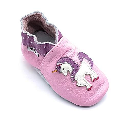 LEPEPPE - Scarpine in Pelle Prima Infanzia - Pantofole Scarpine Babucce - Neonato - Nido - Materne Danza - Primi Passi Fino al 32/33!!! Unicorno (5XL (21 cm di Suola))