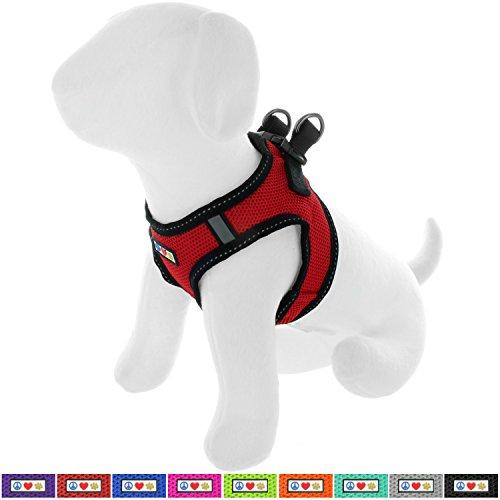 Pawtitas Arnés de Tela Antitirones Perro y Cachorros, Chaleco Acolchado para Mayor Comodidad, diseño Resistente, Ajustable y Transpirable Extra Extra Pequeño Rojo