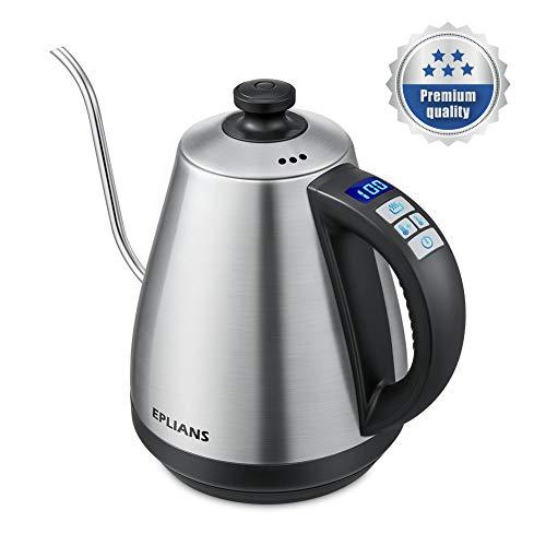 Wasserkessel EPLIANS mit Schwanenhalsausguss und Temperatur-Anzeige, Wasserkocher, Kaffeekessel, Edelstahl, 1 Liter