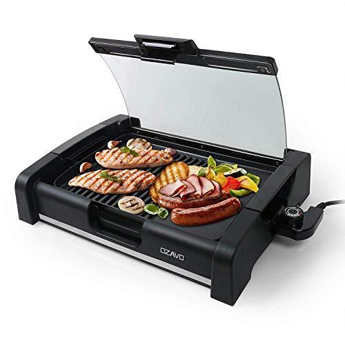 OZAVO Plancha Revêtement Barbecue de Table Électrique Anti-Adhésive Thermostat Amovible Pare-brise Amovible 1650W, Noir