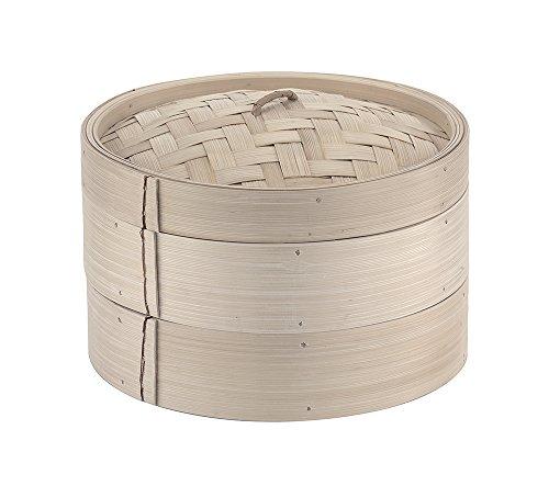 Paderno 49603-25 Cestello per Cottura a Vapore – Cuocivapore in Bambù con coperchio, 2 livelli,...