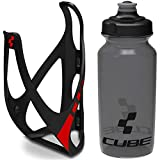 Cube HPP Cage - Matt Black/Red & Icon Bottle - Black, 750ml / Water Drink Flask Vessel Bidon Holder Mount Bracket Kit Lightweight Plastic Drinking Hydration Biking Bike Riding Frame Accessories