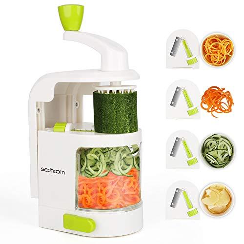 Sedhoom spiralizzatore/Affettatrice di verdure verticale con 4 lame per tagliare/affettare frutta e...
