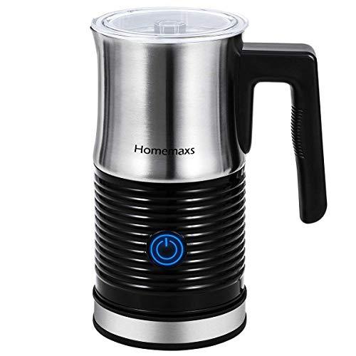 Milchaufschäumer, Homemaxs elektrisch mit heißer oder kalter Milchschaum möglich automatischer Milchwärmer, Milchschäumer aus Edelstahl für Kaffee Latte, Cappuccino