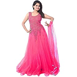 Florence Women's Net Semi-stitched Gown (Pink)