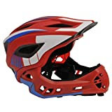 Kiddimoto Unisex-Youth KMHFF03S Full Face Cycle Helmet, Red/White/Blue, Small (48-53cm)