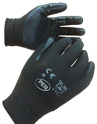 PWS - Set di 12 paia di guanti di nylon rivestiti in nitrile, taglia L