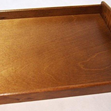 plateau de service en bois clair noyer vernis ou bois d 39 acajou rouge fonc 40 x 30 x 6 cm. Black Bedroom Furniture Sets. Home Design Ideas