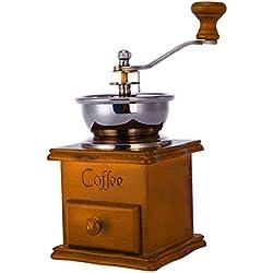 Deanyi Molinillo de café Cafetera Aspecto de los Granos de la Amoladora Antiguo Base de Madera