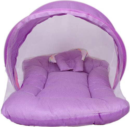 Raja Dresses Toddler Mattress with Mosquito Net, Baby Bedding for Kids Soft and Cosy for Soft Baby Skin Color Purple