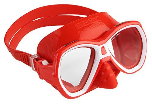 Seac Elba MD, Maschera Subacquea con Viso Piccolo, Ideale per Snorkeling e Immersioni Gioventù Unisex, Rosso, S