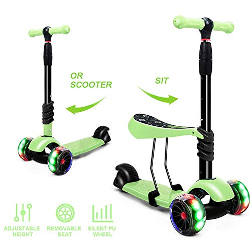 Magicwand Foldable 3-in-1 Sit & Stand Wide Platform Height Adjustable Kick & Push Scooter for Kids with Removable Seat (Green)