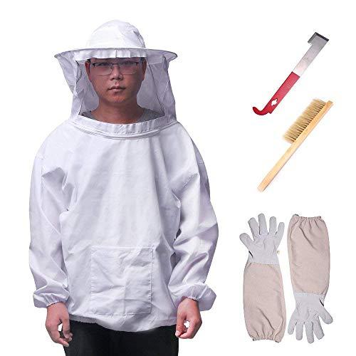 ONEVER 4PCS Set di attrezzi per apicoltore - Kit per attrezzi da velo da apicoltore, guanti a...