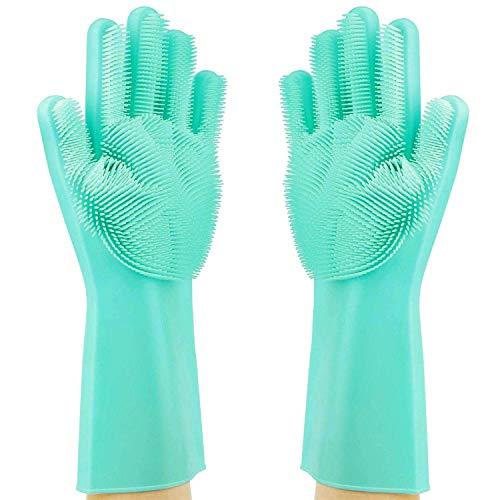 Guanti in Silicone,Dishwashing Gloves, Magico Guanti per Lavapiatti con Lavaggio Scrubber Spazzola...