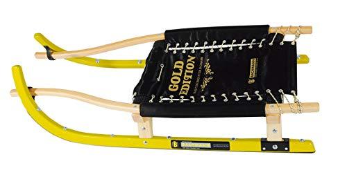 BACHMANN Rennrodel Sportrodel Gold Edition 190 - schichtverleimte Kufen, Edelstahl-Laufschienen, gepolsterte Sitzfläche - Länge 112 cm, Höhe 20 cm, Sitz 44 x 58 cm