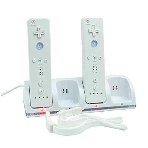 Estación de carga + 4 x 2800 mAh Baterías recargables para Nintendo Wii WIIMOTE MANDOS REMOTE