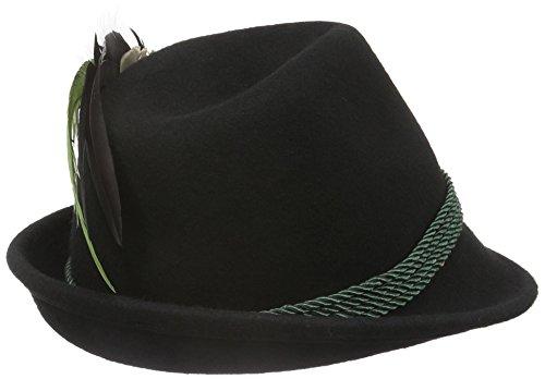 Alpenflüstern Damen Filz-Trachtenhut Schwarz mit Hutfeder Farbenfroh, Grün (Grün 50), 55/57 cm (Herstellergröße: Medium) - 2
