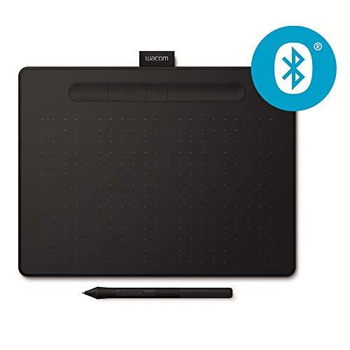 Tablette à stylet Wacom Intuos M Bluetooth, Noir - Tablette graphique sans fil pour la peinture, le dessin et la retouche photo avec 3 logiciels créatifs gratuits*, compatible Windows & Mac