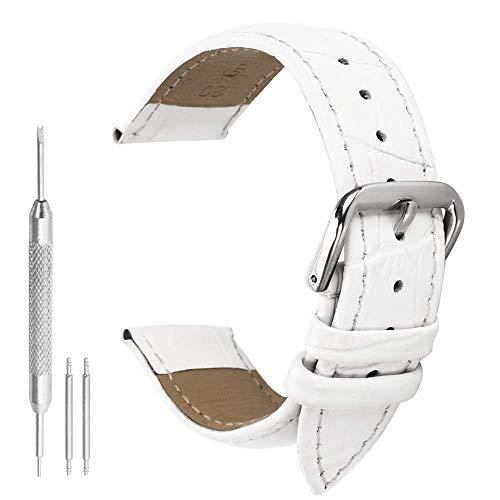 bianco orologio in pelle cinghie banda sostituzione vera pelle di vitello 12mm delle donne leggermente imbottito