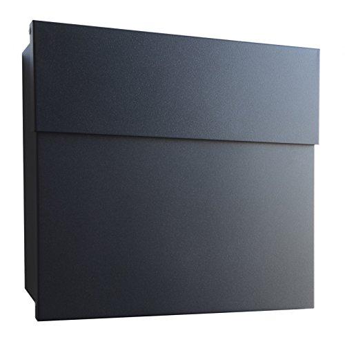 Radius Design Briefkasten Letterman 4 schwarz (RAL 9005) mit verdecktem Schloss, moderner Wandbriefkasten, Postkasten Letterman IV: minimalistisch, schwarz, funktional und ästhetisch