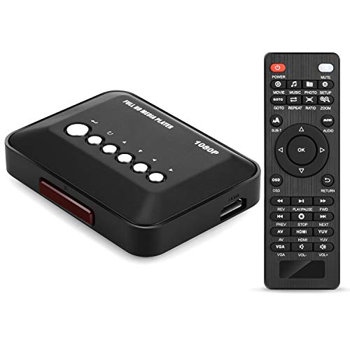 AGPTEK 1080p full HD digitale multimediale TV Media Player con telecomando per 1080p HD USB SD MMC...