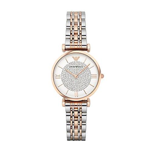 Emporio Armani AR1926 orologio al quarzo da donna, quadrante bianco, display analogico e cinturino...