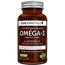 Pure Essentials - Huile de Poisson - Vitamine D3, 660 mg - 60 capsules